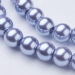 Glass Pearl Beads Cornflower Blue 8mm